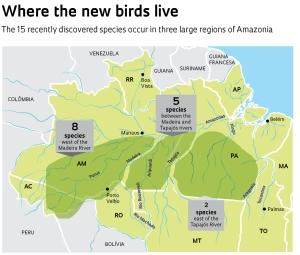 Localização geográfica das novas espécies